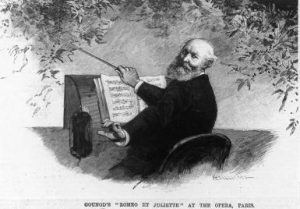 Illustrated portrait of Charles Gounod conducting with caption 'GOUNOD'S ROMEO ET JULIETTE AT THE OPERA, PARIS', circa 1880s. (Photo by Fotosearch/Getty Images).