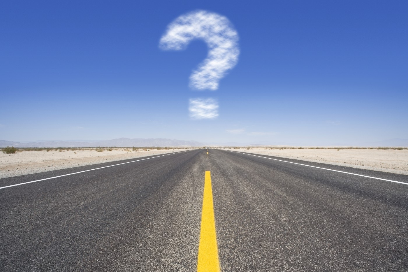 Image: 0014502702, License: Royalty free, Question mark cloud hovering over remote desert road, Property Release: Yes, Model Release: No or not aplicable, Credit line: Profimedia-Red Dot, Juice Images