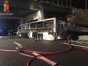 A handout photo made available by Polizia (Police) shows a burned Hungarian bus after an accident at 'Verona Est' highway's exit in Verona, Italy, 21 January 2017. Italian police reported that 16 people died in the bus crash as Hungarian students were reportedly returning to Budapest from a school trip from France. According to reports, 55 people, 39 of whom were injured and taken to nearby hospitals, were on board the bus during the incident. ANSA/POLIZIA EDITORIAL USE ONLY